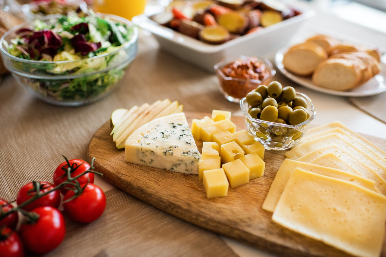 cheese platter on table