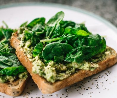 vegan toast with hummus and spinach